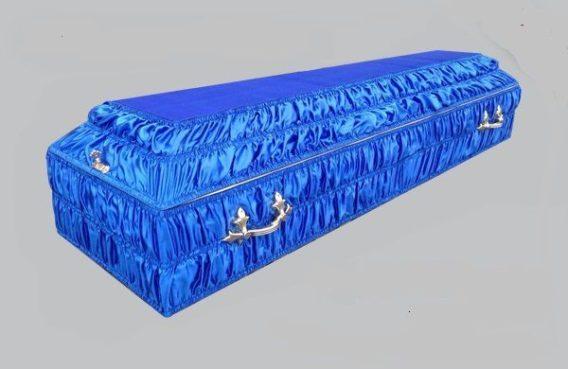 Гроб обитый тканью гофра синий