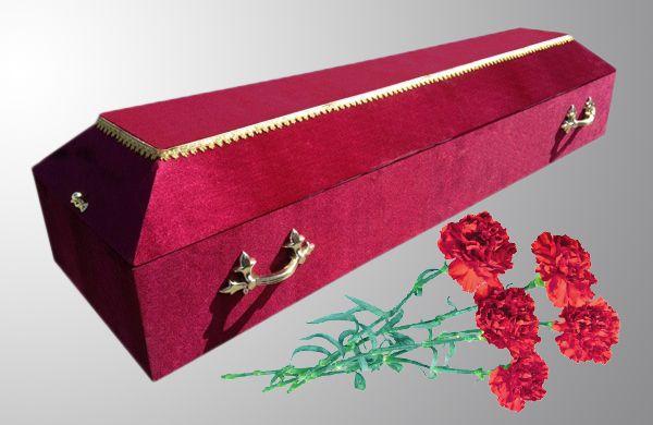 гроб обитый бархатом простой