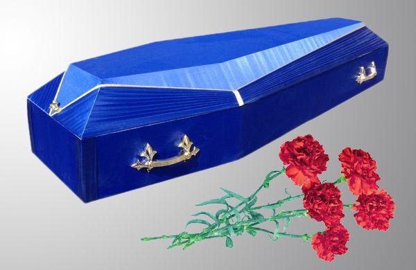 Гроб Оббитый католик синий