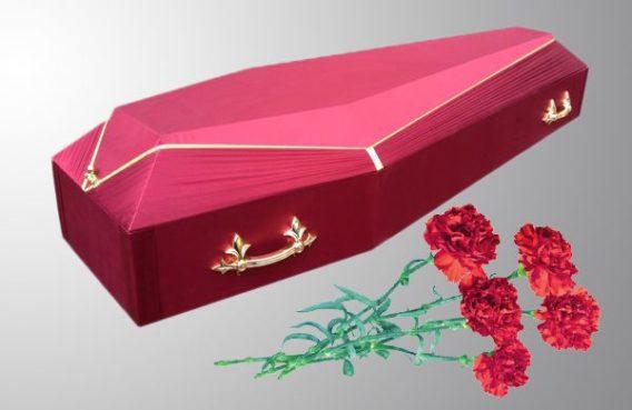 Гроб обитый католик красный купить