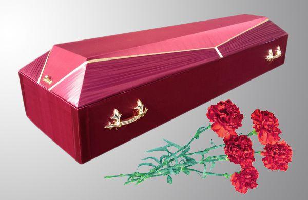 Гроб обитый тканью красный