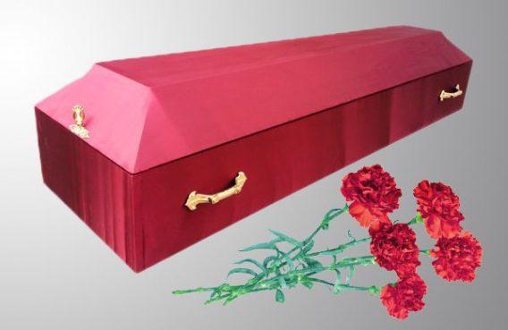 Гроб обитый простой крачный