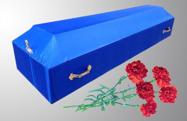 Гроб обитый простой синий