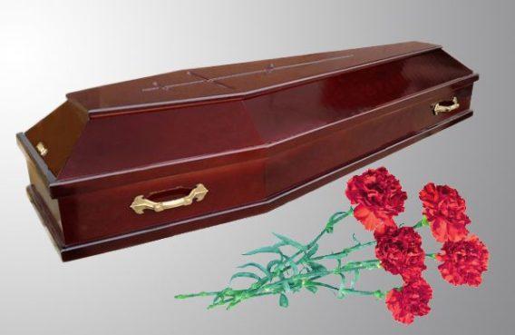 Гроб деревянный новый с крестом