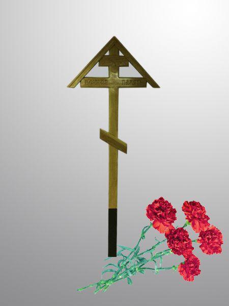крест на могилу дубовый с домиком