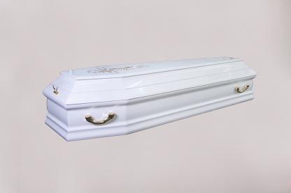 Гроб лакированный Канзас белая роза